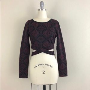 Kendal + Kylie Cropped Damask Long Sleeve Blouse